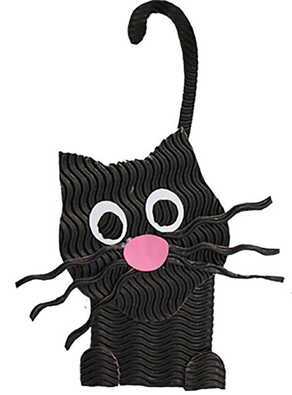 Chat noir en carton ondul t te modeler - Modele de coeur a decouper ...