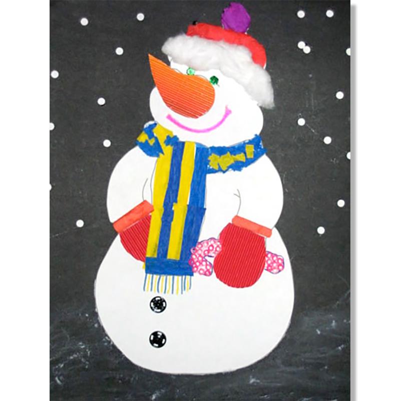 Bonhomme de neige en collage