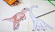Colorier plusieurs dinosaures