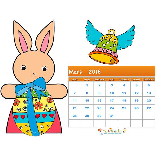 Coloriage du calendrier 2016