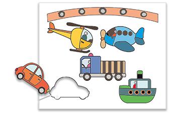 Découper les éléments du mobile transports