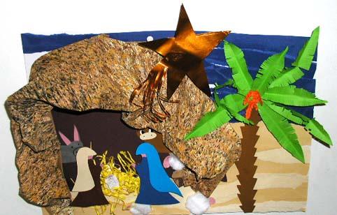 Crèche de Noël en tableau
