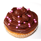 Cupcake chocolat aux billes roses