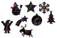 Décorer plusieurs motifs en carte à gratter pour Noël