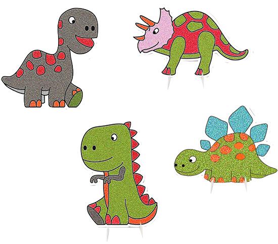 Décoration de dinosaures avec du sable de couleur