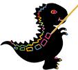 Dessiner des formes sur le dinosaure