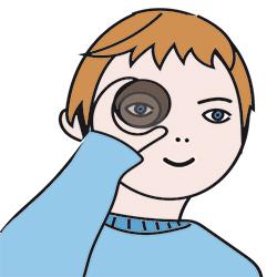 Placer le rouleau devant l'oeil
