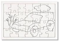 Dessin sur le puzzle en carton blanc
