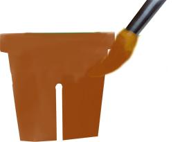 Peindre les 2 parties du pot