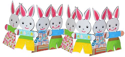 petits lapins se donnent la main en guirlande de p ques t te modeler. Black Bedroom Furniture Sets. Home Design Ideas