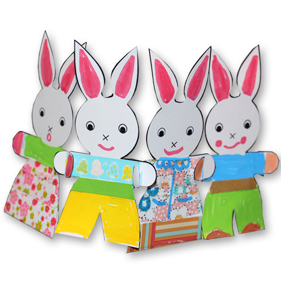 Petits lapins se donnent la main en guirlande de p ques t te modeler - Image lapin de paques ...