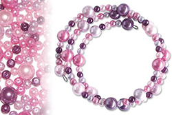 Kit bracelets farandole de perles nacrées rose à violine