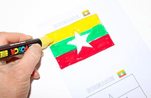 Colorier le drapeau de la Birmanie