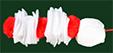 Ajouter 1 pompon rouge et 1 blanc