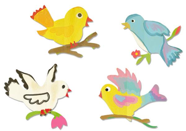 Décorer tous les oiseaux en bois