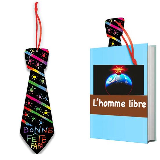 Marque-page cravate en carte à gratter