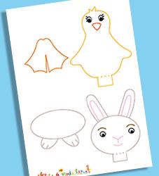 Description :Modèle poussin et lapin