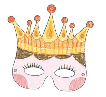Colorier un masque couronne fille