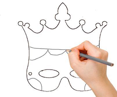 Dessiner le visage et la couronne sur le masque couronne