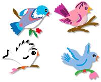 Peindre les oiseaux en bois
