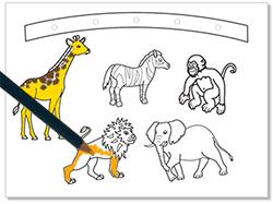 Colorier les animaux de la planche