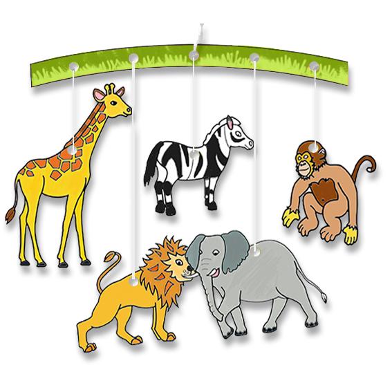 mobile des animaux de la savane à colorier
