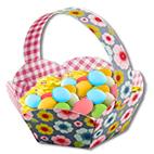 Garnir le panier d'oeufs de Pâques
