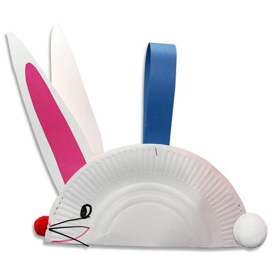 Lapin de Pâques panier en assiette en carton