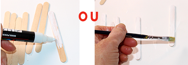 Peindre les bâtons de bois
