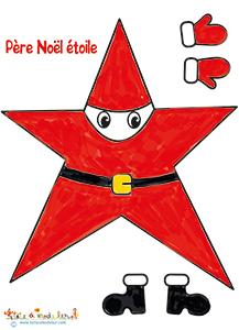 Père Noël étoile colorié