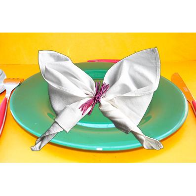 Poser la serviette papillon dans l'assiette