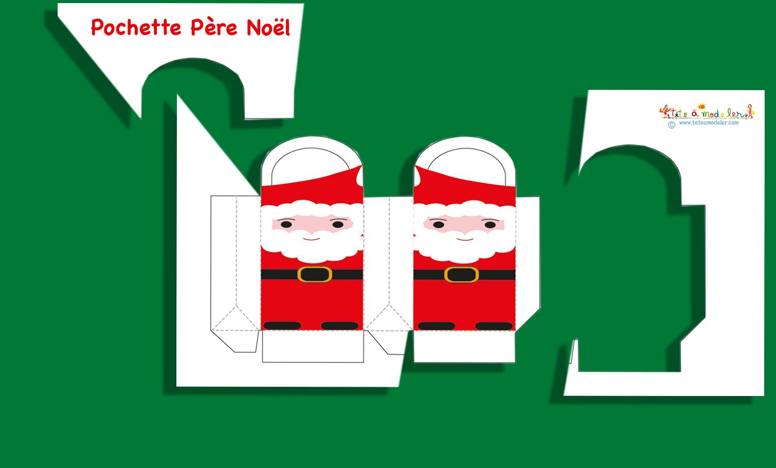 Pochette cadeau p re de no l p re no l sur t te modeler - Tete a modeler noel ...