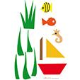 gabarits bateau poissons algues
