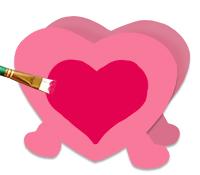Peindre un gros coeur au centre du pot