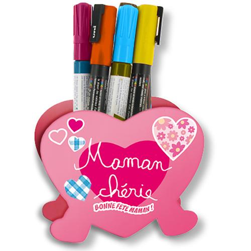 Pot à crayons c?ur, cadeau de fête des mères