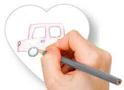 Faire un dessin sur le coeur en papier