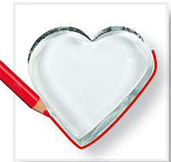 reproduire le coeur en verre