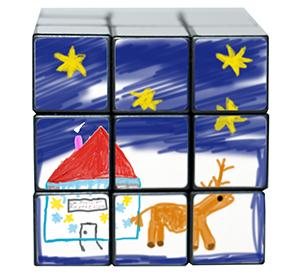 Faire un dessin identifiable et unique sur la face 2 du cube