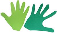Formes de mains découpées