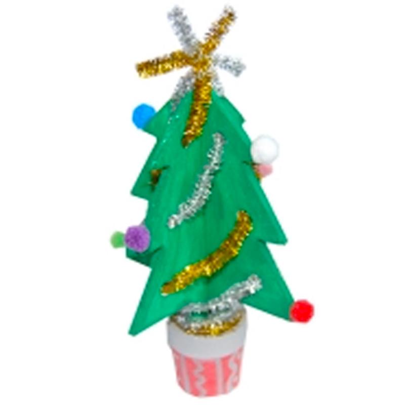 Sapin en bois peint et décoré pour Noel