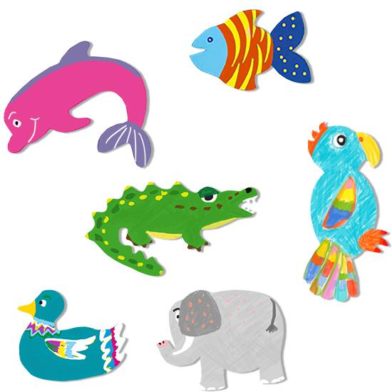 Colorier toutes les silhouettes géantes d'animaux