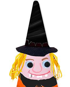 Placer le chapeau de sorcière sur le cône