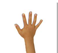 Presser la main sur le tableau