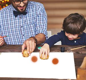 Peindre les marrons à la pomme de terre