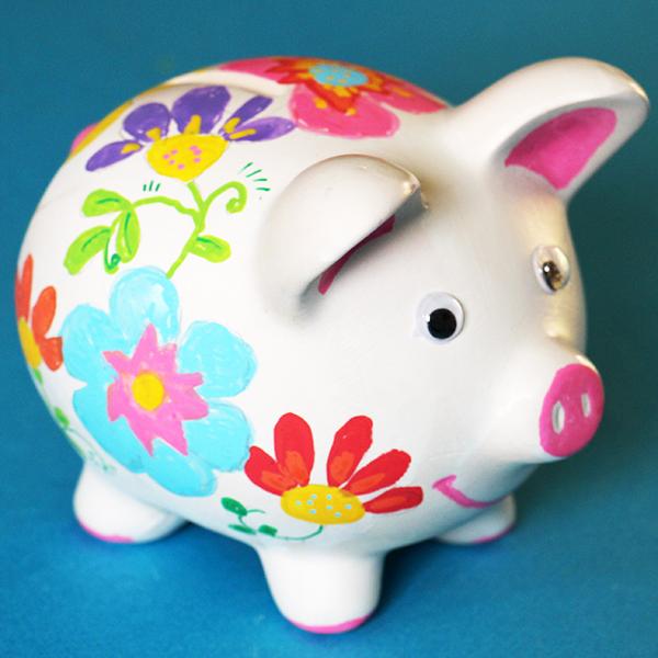 Tirelire cochon à grosses fleurs