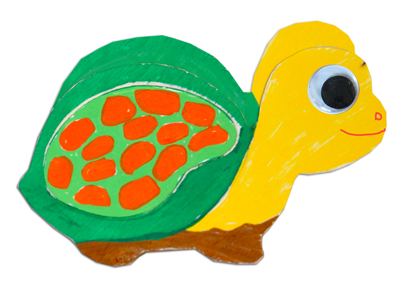 Tirelire tortue décorée aux feutres