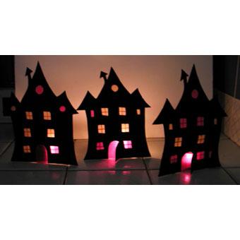Vitrail photophore d'Halloween - maison hantée
