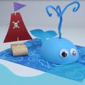 activité de bricolage enfants pour réaliser un collage baleine et bateau en liège