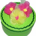 Offrir une boîte décorée de fleurs anémones en cadeau