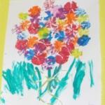 Tableau de fleurs peint à la pomme de terre
